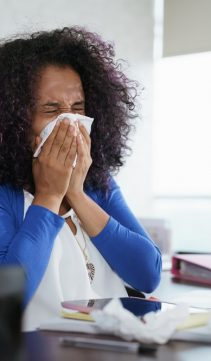 Cover your mouth and nose with a paper tissue when you sneeze.