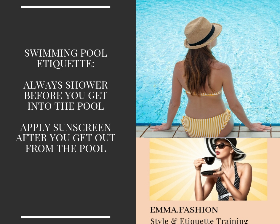 Common courtesy and consideration are social manners to display while having fun at the pool.