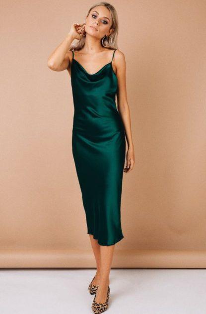 Jewel tone silk dress