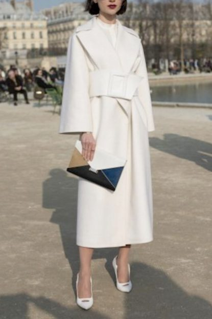 White outfit with color blocking