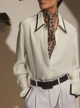 Pointed collared shirt with trim
