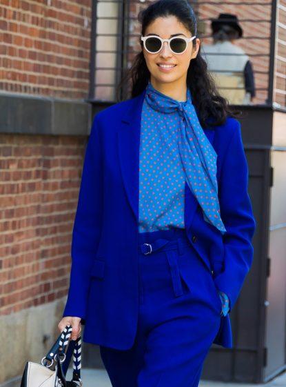Polka dot bow tie blouse