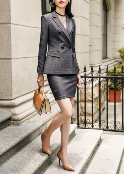 Mini skirt suit with high heels