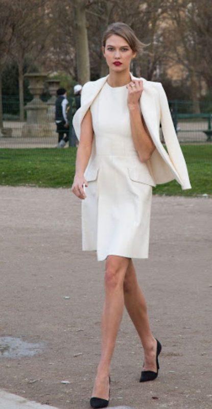 white dress and blazer
